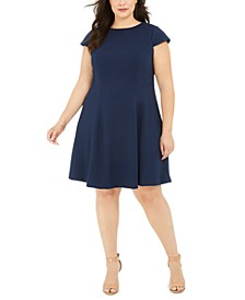 Plus Size Textured Fit & Flare Dress