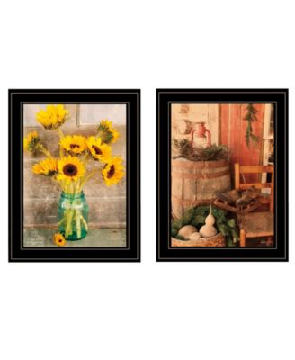 Vintage-Like Country Sunflowers 2-Piece Vignette by Anthony Smith, Black Frame, 15