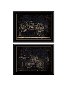 Trendy Decor 4U Motor Bike Patent I II 2-Piece Vignette by Cloverfield Co Collection