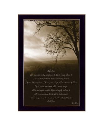 Life Is By Dee Dee, Printed Wall Art, Ready to hang, Black Frame, 18
