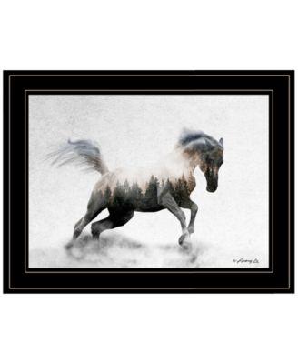 Running White Stallion by andreas Lie, Ready to hang Framed Print, White Frame, 19