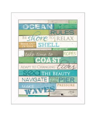 Ocean Rules By Marla Rae, Printed Wall Art, Ready to hang, White Frame, 14