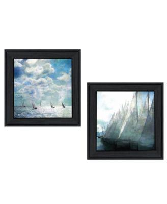 Sailboat Marina 2-Piece Vignette by Bluebird Barn, Black Frame, 15
