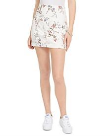 Juniors' Printed-Denim Mini Skirt