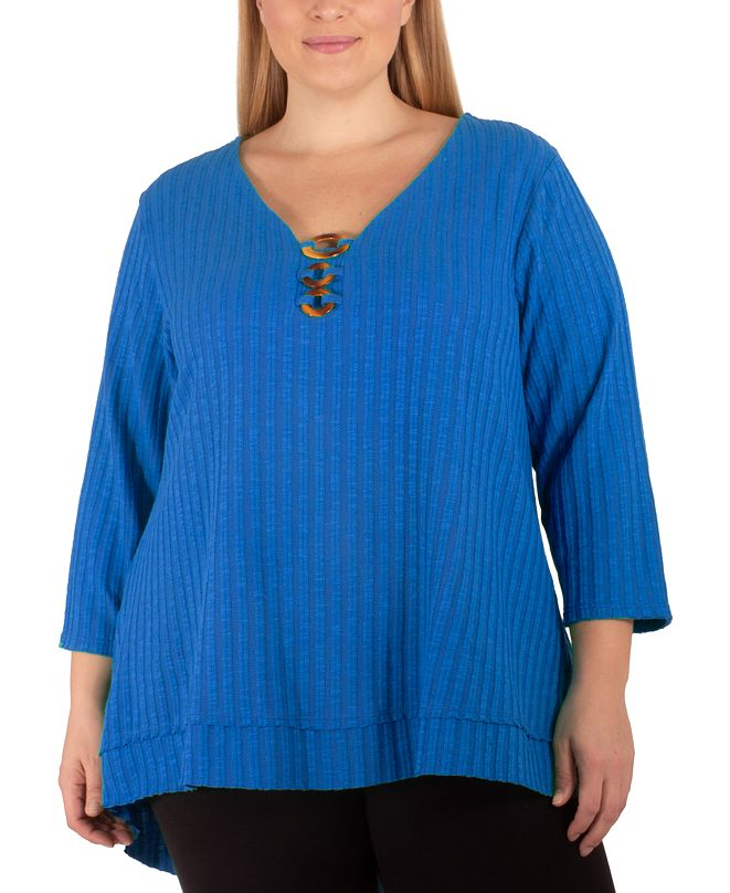 NY Collection Plus Size Ribbed Embellished Top