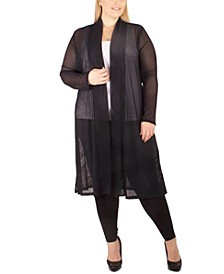 Plus Size Semi-Sheer Duster Cardigan