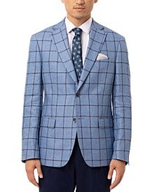 Men's Slim-Fit Blue & Navy Windowpane Linen Sport Coat