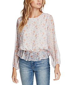 Floral-Print Cinched-Waist Top