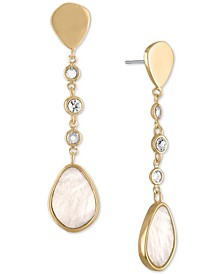 Gold-Tone Stone Linear Drop Earrings