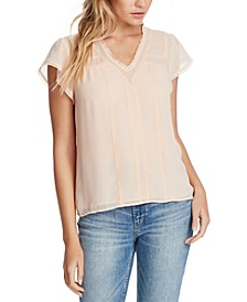 Lace-Trim V-Neck Top