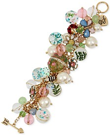 Gold-Tone Crystal & Imitation Pearl Flower-Motif Mixed Charm Bracelet