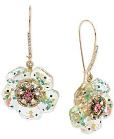 Gold-Tone Crystal Flower Drop Earrings