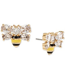 Gold-Tone Crystal Bee Stud Earrings