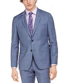 Men's Modern-Fit Blue Plaid Suit Jacket