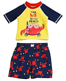 Infant Boys 2 Piece Rashguard Set Featuring A Snorkeling Crab Design
