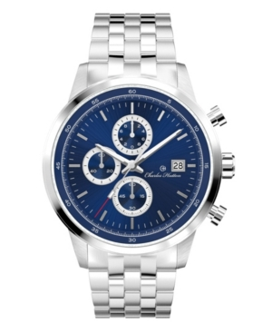 Men's Valiant Chronograph Silver Stainless Steel Strap Watch 44mm