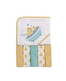 Baby Girls and Boys Bath time Duck Hooded Towel with 5 Washcloths, Pack of 6
