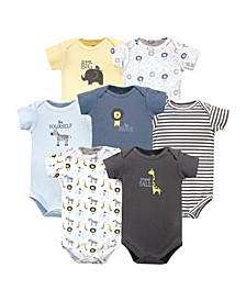 Baby Girls and Boys Safari Bodysuits, Pack of 7