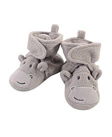 Baby Girls and Boys Hippo Cozy Fleece Booties
