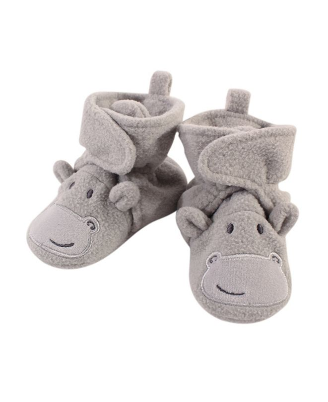 Hudson Baby Baby Girls and Boys Hippo Cozy Fleece Booties