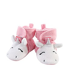 Baby Toddler Girls Rainbow Unicorn Cozy Fleece Booties