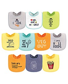 Baby Girls and Boys Food Neutral Terry Drooler Bibs with Fiber Filling, Pack of 10