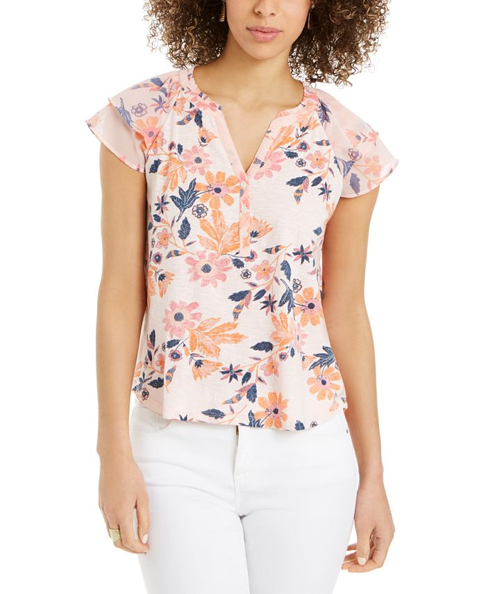 Style & Co - Printed Split-Neck Top
