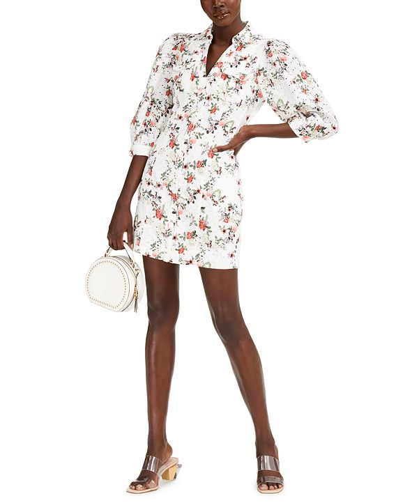 INC International Concepts INC Printed Puff-Sleeve Eyelet Dress, Created for Macy's