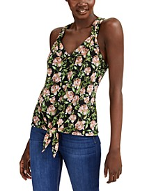 INC Petite Printed Tie-Front Top, Created for Macy's
