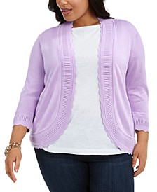 Plus Size Scalloped Open-Front Cardigan