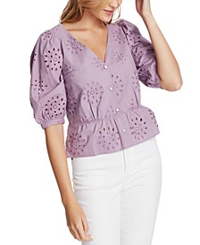 Eyelet-Embroidered Peplum Top
