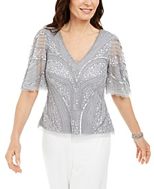 Petite Sequined & Beaded Blouse