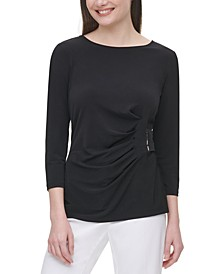 Ruched 3/4-Sleeve Top