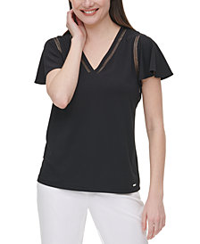 Calvin Klein Flounce-Sleeve Top