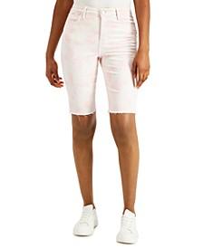 Tie-Dyed Raw-Hem Bermuda Shorts