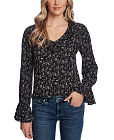 Floral-Print Ruffle Top