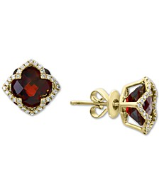 EFFY® Rhodolite Garnet (9-1/10 ct. t.w.) & Diamond (1/3 ct. t.w.) Stud Earrings in 14k Gold