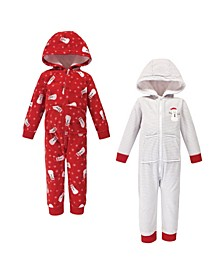 Baby Toddler Girls and Boys Santa Snowman Fleece Coveralls and Playsuits Jumpsuits, Pack of 2