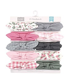Baby Girls Gingham and Synthetic Headbands, Pack of 10