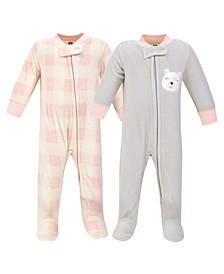 Baby Girls Bear Fleece Sleep and Play, Pack of 2