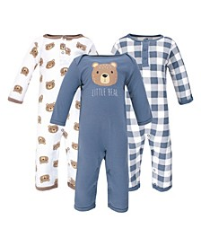 Baby Girls and Boys Little Bear Coveralls, Pack of 3