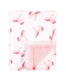 Baby Girls Unicorn Print Mink Blanket with Sherpa Backing