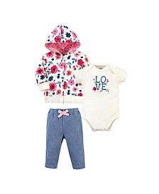 Baby Girls and Boys Garden Floral Hoodie, Bodysuit or Tee Top and Pant, Pack of 3