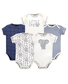 Baby Girls and Boys Elephant Bodysuits, Pack of 5