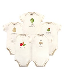 Baby Girls and Boys Mushroom Bodysuits, Pack of 5