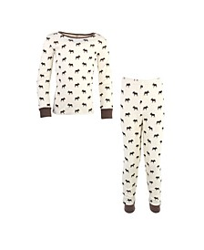 Big Girls and Boys Moose Tight-Fit Pajama Set, Pack of 2