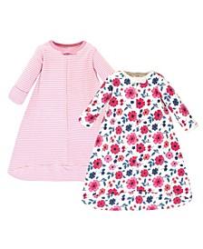 Baby Girls Garden Floral Long-Sleeve Wearable Sleeping Bag Sack, Pack of 2