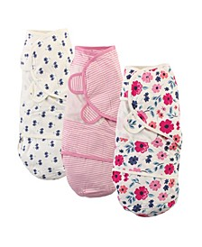 Baby Girls Floral Swaddle Wraps, Pack of 3