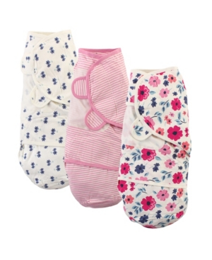Touched By Nature Baby Girls Floral Swaddle Wraps, Pack Of 3 In Multi