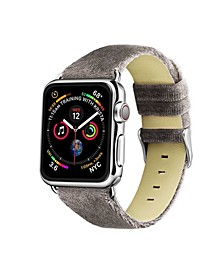 Men's and Women's Apple Gray Wool Velvet, Leather, Stainless Steel Replacement Band 44mm